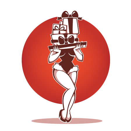Pinup Marry Christmas and happy new year girl image with present boxes