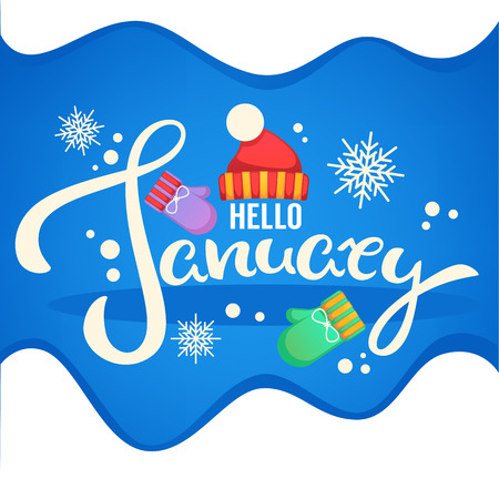 Hello January, knitted hat , mittens and snowflakes lettering composition banner template