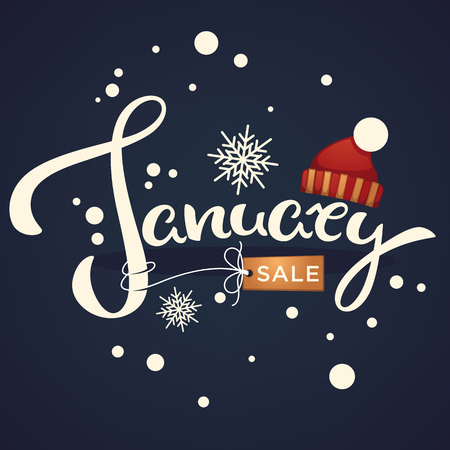 January sale, knitted hat and snowflakes lettering composition or banner template on dark background