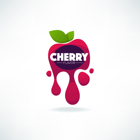 bright sticker, emblem and icon for cherry flavor fresh juice Stok Fotoğraf - 91871781