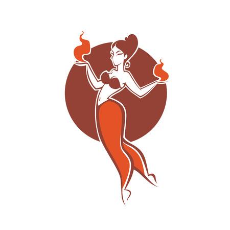 Ragazza indiana che balla con il fuoco, immagine per la tua icona, etichetta, emblema Archivio Fotografico - 91871783