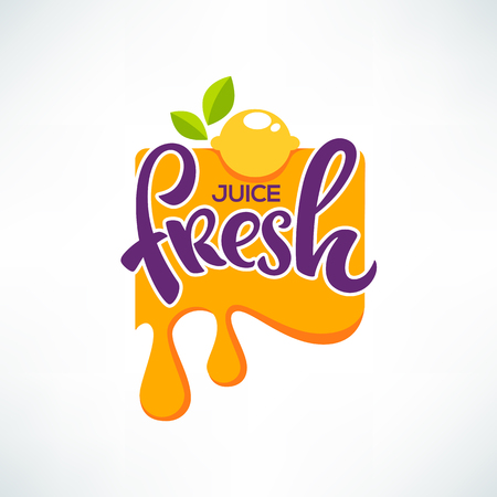 Bright sticker, emblem and icon for citrus fruit fresh juice Çizim