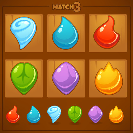 Match 3 Mobile Game, games objects, earth, water, fire, nature elements