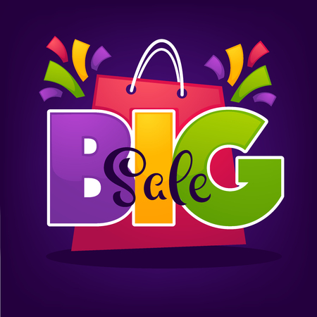 bright big sale background, with shopping bags and lettering composition for your discount banner or flyer
