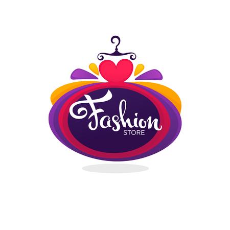 ファッションブティックと店のロゴ、ラベル、明るいバルーンドレスとレタリングの組成物とエンブレム