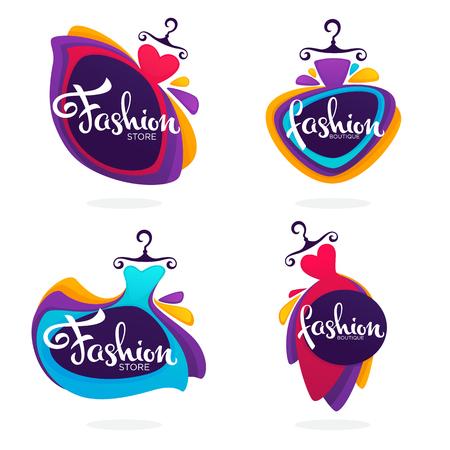Vector collectie van mode boetiek en winkel logo, label, emblemen met heldere baloon jurken en belettering samenstelling Stock Illustratie