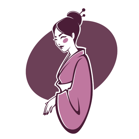 Vector portrait of beautiful geisha, for your logo, label, emblems with image of pretty asian japan woman