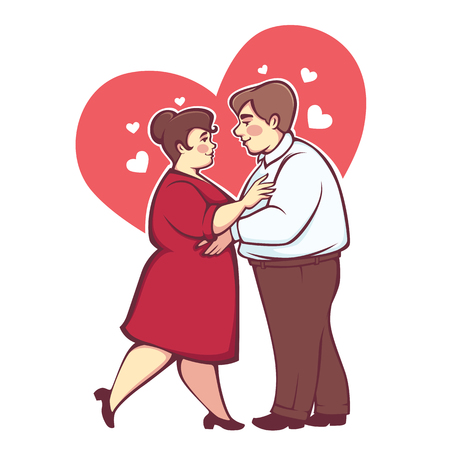 Overweight romantic couple, happy cartoon vector man and woman dancing on heart background