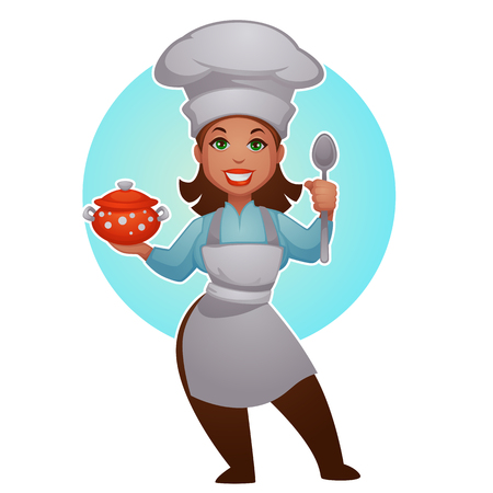 Cartoon woman chef, vector professional lady for your mascot