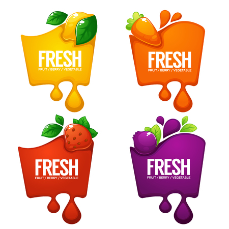 vector collection of bright  frames  stickers, emblems and banners for vegetables, fruits and berry fresh juice