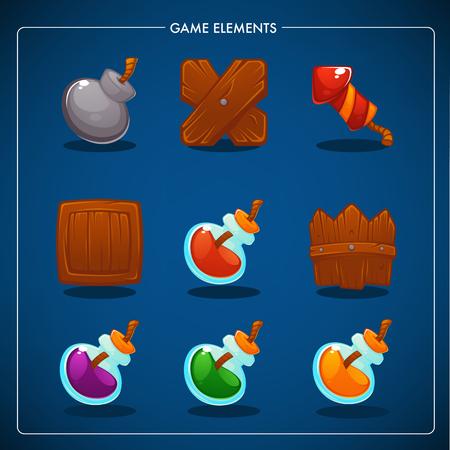Match 3 Mobile Game, games objects, potion, bomb, dynamite, box, fence, petard Banco de Imagens - 94663584