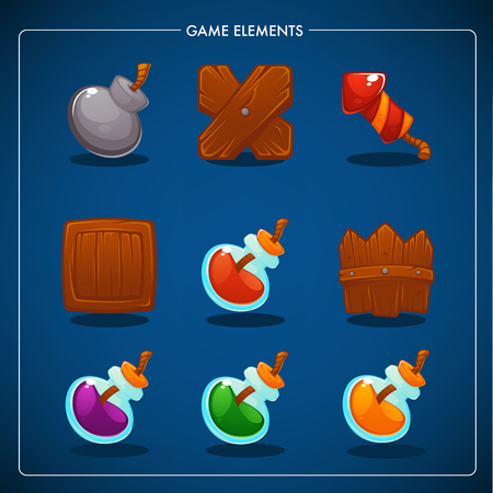 Match 3 Mobile Game, games objects, potion, bomb, dynamite, box, fence, petard Illustration