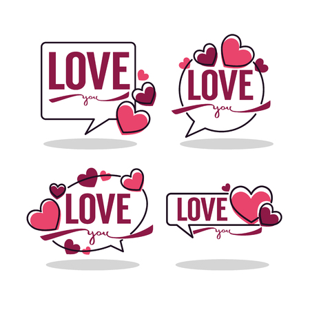 vector collection of hearts and love logo, emblems, labels and forms Banco de Imagens - 94663586