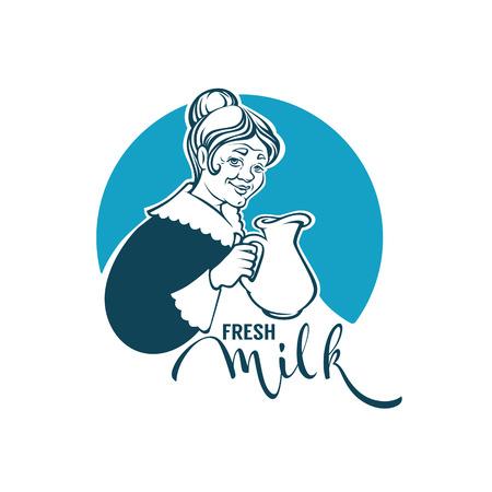 素敵な祖母、ミルクジャグとレタリング組成物のベクトル肖像画と新鮮なミルクロゴテンプレートデザイン