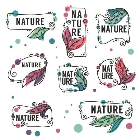 Natuur Frames vector verzameling doodle bloemen emblemen en logo