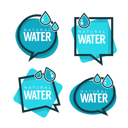 Natural water, vector logo, labels and stickers templates with aqua drops Illustration