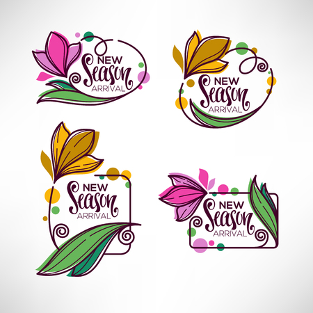 Collection of doodle flowers emblems frames design Фото со стока - 95431143