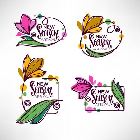 Collection of doodle flowers emblems frames design