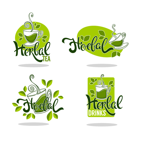 Green and herbal tea template collection Фото со стока - 95431150