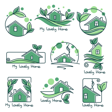 Set of ecological homes with green leaves Illustration