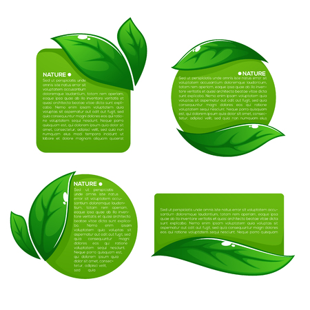Nature tag templates collection of leaf labels