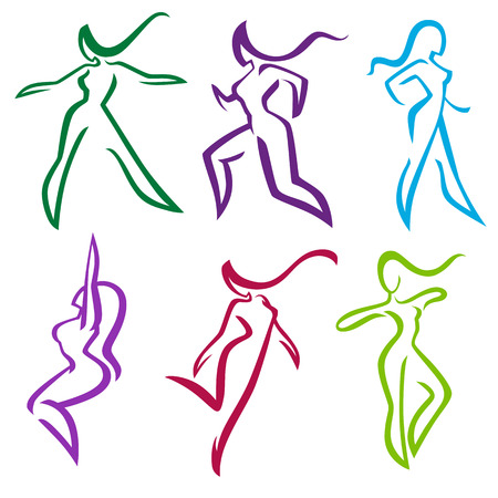 Collection of abstract women dancing and sportive poses Ilustração