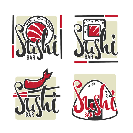 Sushi icon template collection