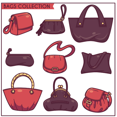 linear vector collection of womans accessories, bags and purse for your shop Illustration