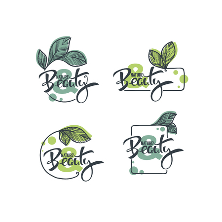 vector collection of hand drawn sketches leaves emblems frames and logo with Nature and Beauty lettering composition Illustration