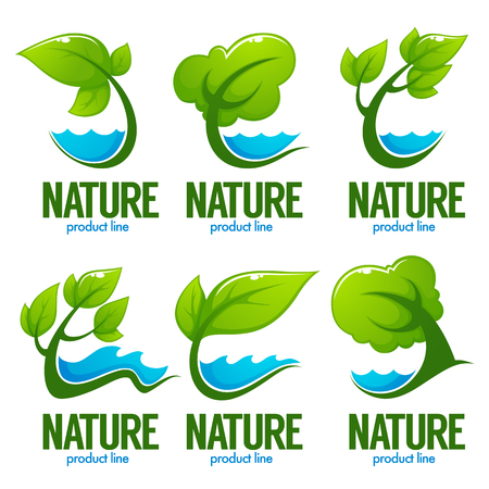 vector collection of decorative green leaves, trees and blue waters for your logo, label, emblems Illustration