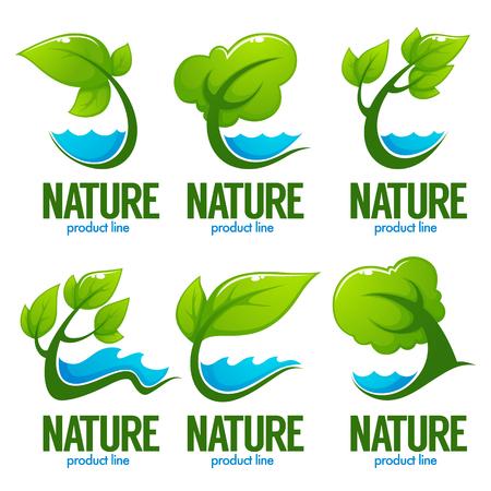 Colección de vectores de hojas verdes decorativas, árboles y aguas azules para su logotipo, etiqueta, emblemas