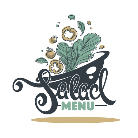 Salad Bar Menu, logo, emblem and symbol, lettering composition with sketch art image of green leaves tomatoes, pepper and olives