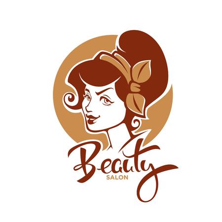 Retro Beauty, vector lady portrait for your beauty salon, product and studio label, logo, emblem.
