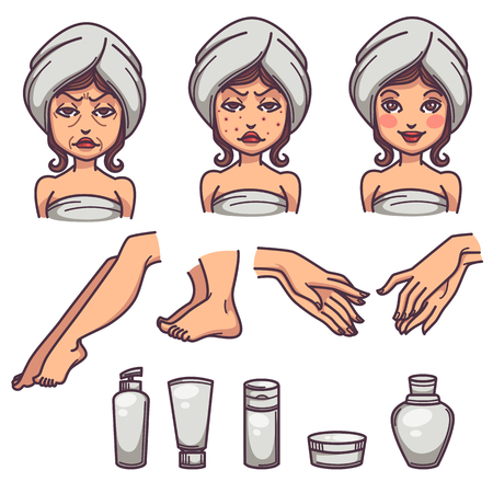 Beauty, skin care and body treatment, skin problems and beauty products, line art objects collection. Ilustração