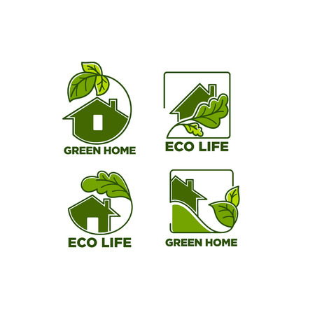 Vector set of ecological homes, green leaves and trees for your logo signs and icons.