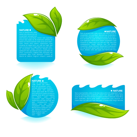 Nature tag templates, vector collection of fresh green leaves and clean blue water labels.