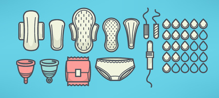 women menstrual hygiene vector objects set, line art style Stock Illustratie