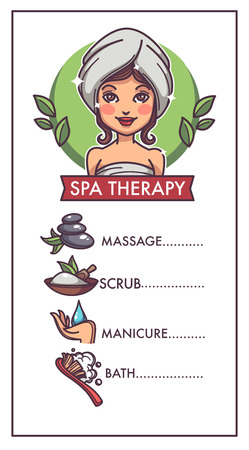 hand care, manicure, bath,  spa and massage, vector template for your spa therapy salon flyer