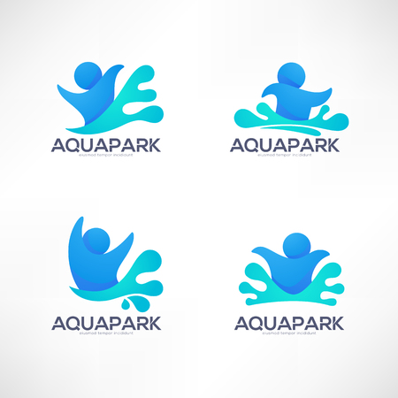 Collection of aqua park and swimming actions emblem and symbols