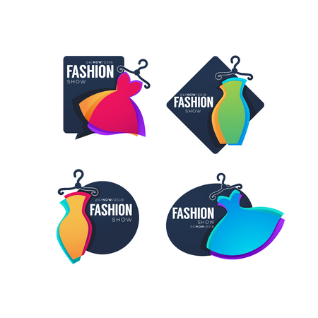 Collection of fashion show emblems with bright dresses