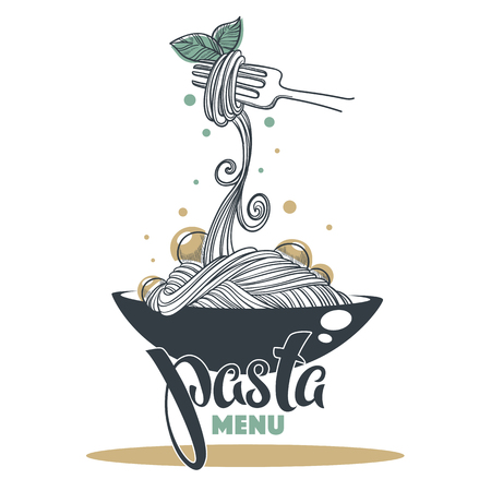Pasta Menu icon hand drawn sketch
