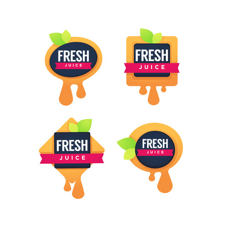 Collection of fresh fruit juice sticker 向量圖像