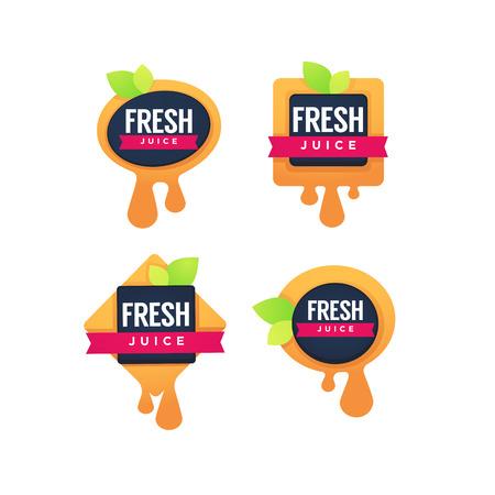 Collection of fresh fruit juice sticker 矢量图像