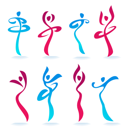 Abstract dancing women's silhouettes for logo, labels or emblems Imagens - 97195737
