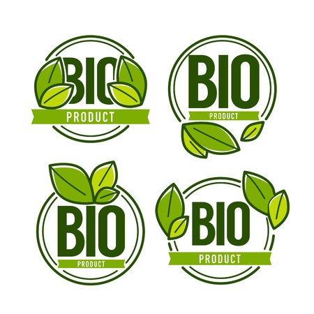 Bio Product, doodle organic leaves emblems, stickers,  frames and logo