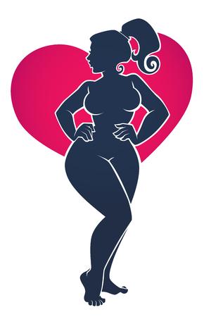 Amo mi cuerpo, ilustración positiva del cuerpo con silueta de mujer hermosa sobre fondo brillante en forma de corazón