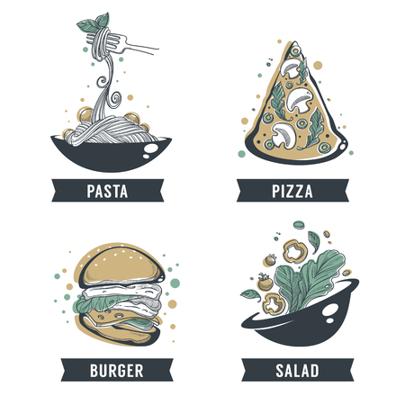 Pasta, pizza, salad and burger hand drawn sketch with lettering for logo, emblem or label.