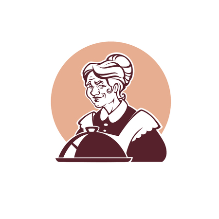 vector portrait of lovely grandmother and home made food for your logo, label, emblem Çizim