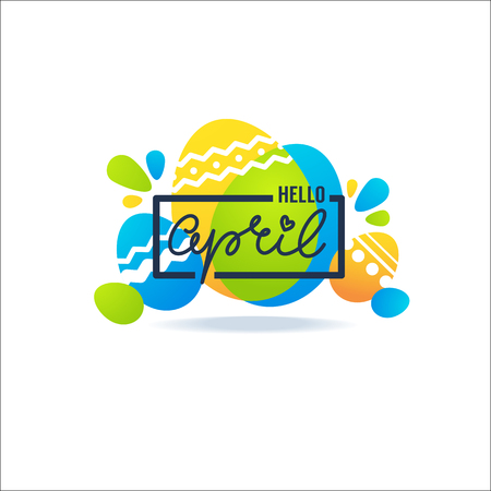 Hello April greeting banner with Easter decorative ornamental eggs and lettering composition