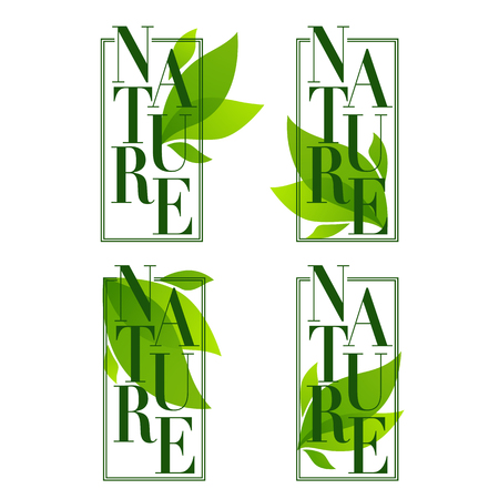 Nature frames ,organic leaves emblems, stickers, and logo in elegant flat style